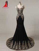 プラスサイズ長いイブニングドレス2017黒でゴールドアップリケビーズマーメイドウェディングパーティーガウンメイドの名誉ロングウエディングガウ