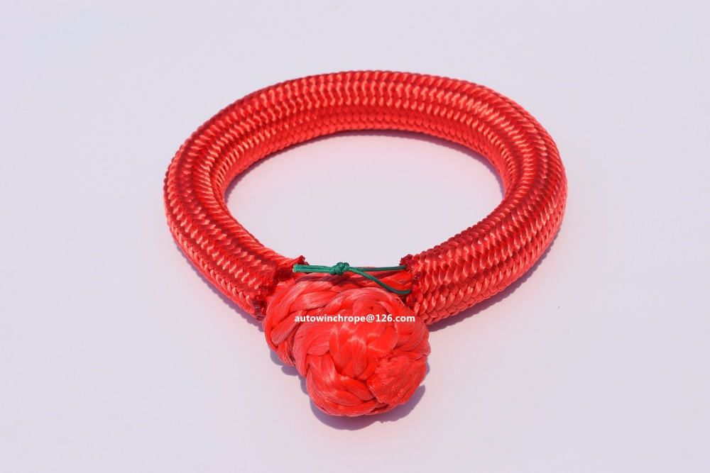 Red 9mm*80mm Uhmwpe Soft Shackles,atv Winch Shackle For Off Road,synthetic Winch Rope Cable,plasma Rope Shackle