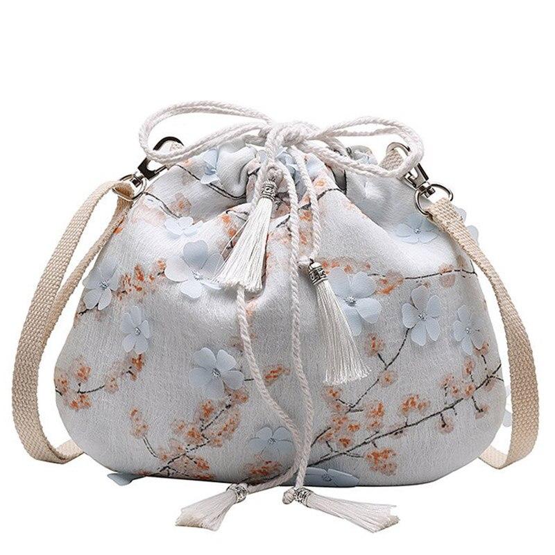 Women Soft Flower Print String Shoulder Bag Fashion 2019 Tassel Drawstring Bags Embroidered School Bags Folding Shopping Bags