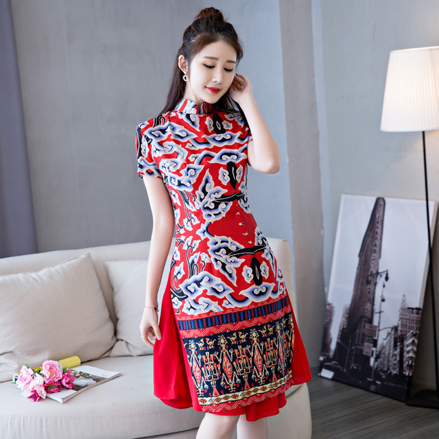 10f6761420b Vietnam Ao Dai Styles Red Chinese Traditional Dresses Cheongsam Long Qipao  Dress Oriental Collars China Clothing Store