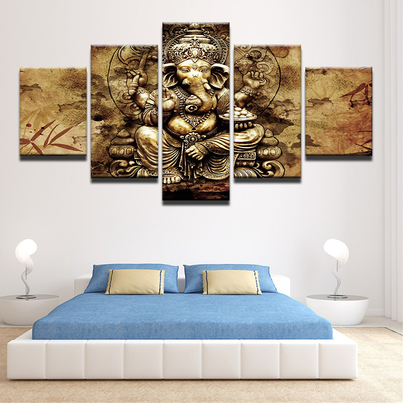 Canvas Wall Art HD Prints Modern Painting Frame Living Room 5 Pieces India Ganesh Poster Elephant Trunk God Pictures Home Decor In Calligraphy