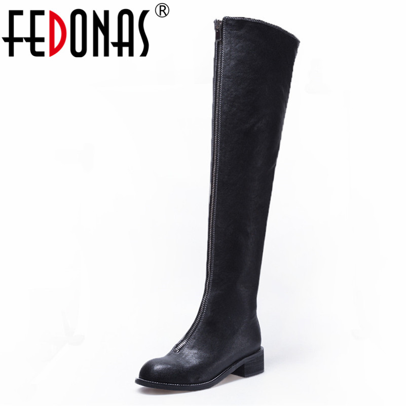 FEDONAS Over The Knee High Boots For Women High Heels Genuine Leather Tight High Motorcycle Boots Ladies Long Winter Shoes Woman цены онлайн