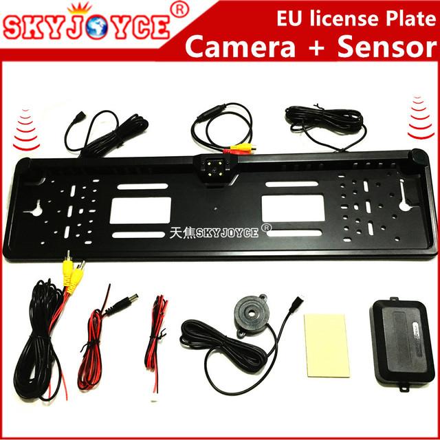 Câmera CCD HD câmera de visão traseira conjunto preto com 2 radar placa de licença da câmara traseira de estacionamento sensor de estacionamento Europeu UE câmera LEVOU