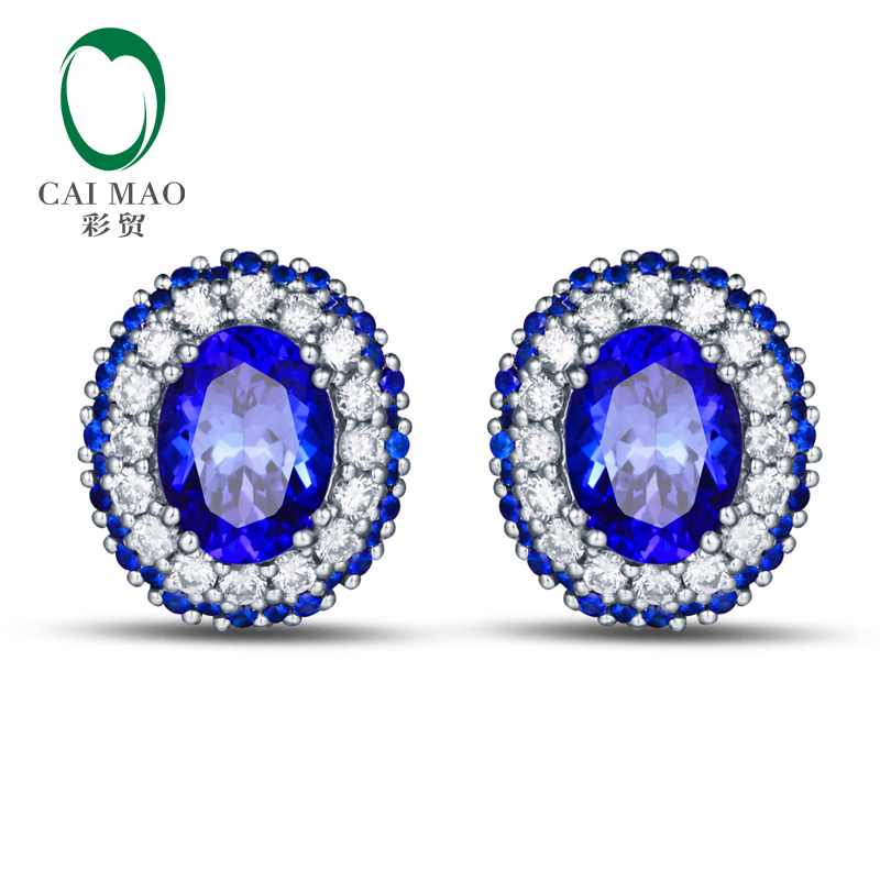 CaiMao 18KT/750 White Gold 2.68ct Natural Blue Tanzanite 0.62 ct Round Cut Diamond 0.42ct Sapphire Engagement Earrings Jewelry