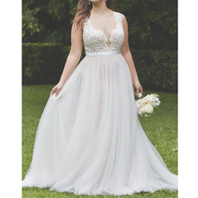 SoDigne 2019 Appliques Lace Wedding Dresses Sweetheart Neck Simple Sleeveless Bride dress A-Line Back Zipper Design