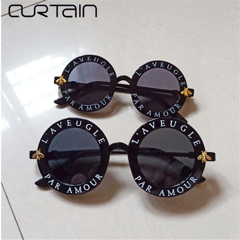 CURTAIN Retro Round Sunglasses Women 2019 Brand Designer Bee Vintage Kid Sun Glasses Boys Girls New Parent-child Suit  UV400
