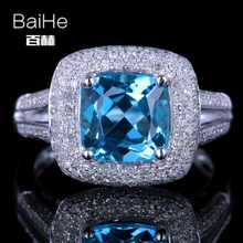 BAIHE Sterling Silver 925 2.3CT Certified Cushion Flawless 100% Genuine Blue Topaz Engagement Women Classic Fine Jewelry Ring