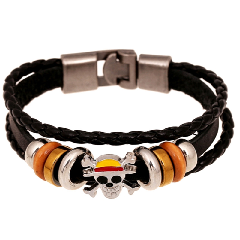 2018 New Fashion Black Hand Made Braided Rope Leather Skull Bracelet For Men Punk Style Layered Charm Cuff Bracelet Bangles Gift