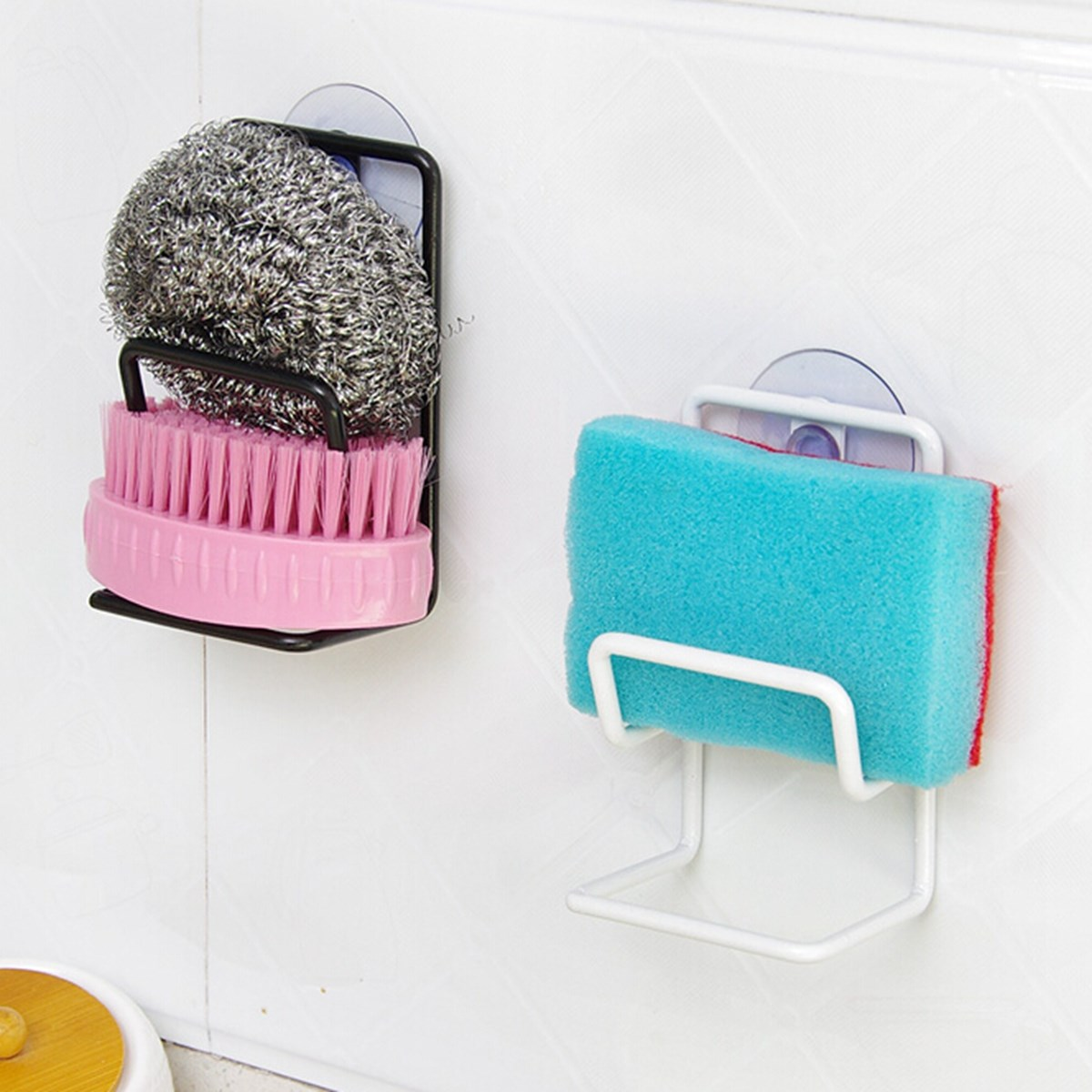 Iron Sink Sponge Brush Suction Wall Holder Double Bathroom Kitchen ...
