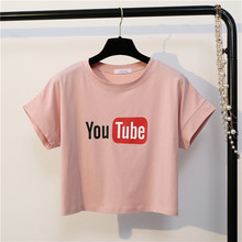 MerryPretty Solid Women Crop Tops Fashion Harajuku Short Sleeve Cotton T-shirt Ladies O- Neck Letter Printed Dance Top Tee Shirt