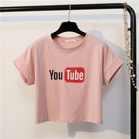 MerryPretty Solid Women Crop Tops Fashion Harajuku Short Sleeve Cotton T Shirt Ladies O Neck Letter