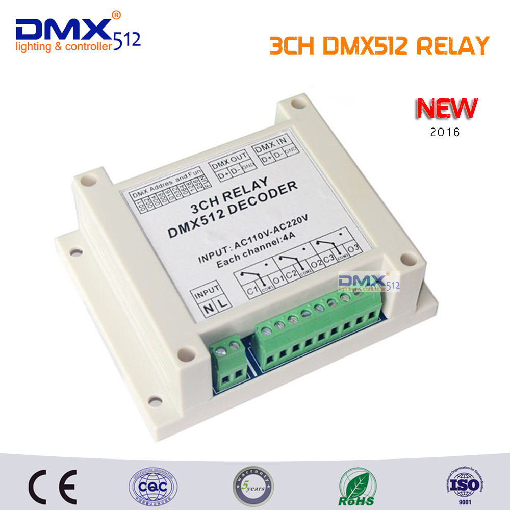 цена на Free Shipping 3CH Relay switch dmx512 Controller, 3 group relay output, 3way relay switch and high voltage led lights