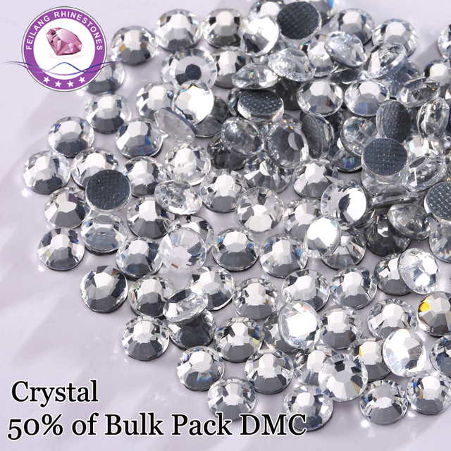 DMC 50%Bulk Pack Wholesale Hotfix Rhinestones Crystal Flatback Strass For Clothes Machine Cut Glass Stones Sewing Acessories