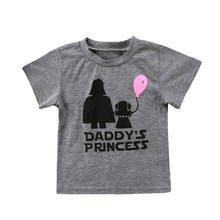 Novelty Girl Tshirt Daddy's Princess Letter Pattern Baby Girls Kids T-shirt Size Suit for 6 12 18 24 Months T-Shirt Short Sleeve(China)