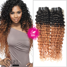 9A Peruvian Curly Hair Ombre Weave 1 Bundle 100% Human Hair Peruvian Deep Curly Hair Weave1B/30 Ombre Hair Extensions