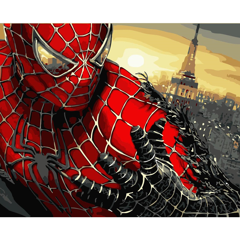 Painting By Numbers DIY Dropshipping 40x50 50x65cm Movie character spiderman Figure Canvas Wedding Decoration Art picture Gift image