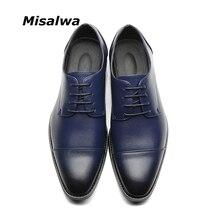 Misalwaブランド男性シンプルな軽量男性古典的なダービーの靴男性ビジネスドレスフォーマルシューズ赤、青サイズ 37 48 ドロップ無料