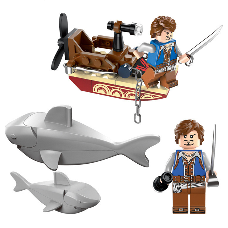Creative 1302 Pirates Series Sharks Contingent Building Block Set Kids Shark Bricks Model Toy Compatible With Legoe hot 378pcs technic motorcycle exploiture model harley vehicle building bricks block set toy gift compatible with legoe