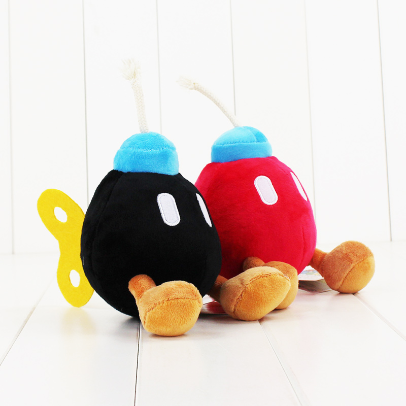 2pcs/lot 14CM Super Mario Bros Bomb stuffed toy black and red bomb soft plush doll cute bomb free shipping good gift for kids2pcs/lot 14CM Super Mario Bros Bomb stuffed toy black and red bomb soft plush doll cute bomb free shipping good gift for kids