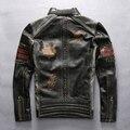Новые мужские Harley подлинная корова кожаная куртка мужчины вышивка мотоциклист тонкий натуральной кожи куртка мотоцикла