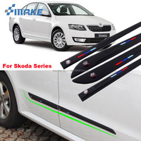smRKE Car styling 4pcs High Quality Brand New Side Doors Rubber Bumper Protector Guard Scratch Sticker Trim For Skoda Vehicle