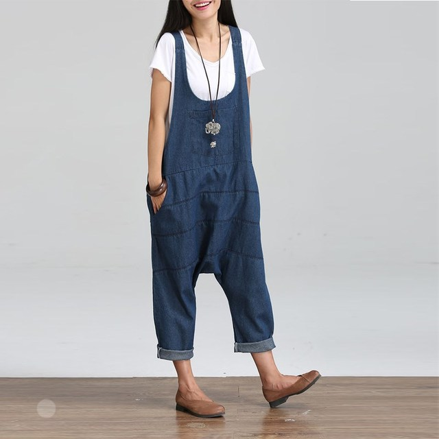 c236e521dd 2018 Summer Autumn Dungaree Rompers Womens Jumpsuits Vintage Sleeveless  Backless Casual Loose Solid Overalls Strapless Playsuits