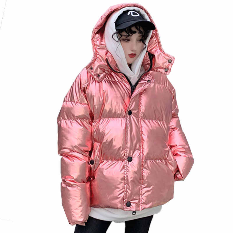 39e5c5c0c Streetwear Super Fire Silver Shiny oversized Winter jacket Women Bread  Cotton clothing Thin and light Down