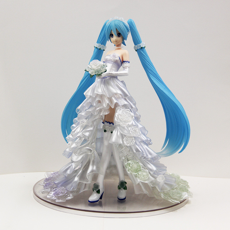 NEW 25cm Anime Hatsune Miku Bride Wedding Dress Ver. 1/7 scale PVC Action Figure Collectible Model Toys For GiftNEW 25cm Anime Hatsune Miku Bride Wedding Dress Ver. 1/7 scale PVC Action Figure Collectible Model Toys For Gift
