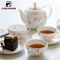 Элегантный Cherry Кофе комплект Керамика костяного фарфора Британский Чёрный чай Кружка Кофе горшок Чай горшок фарфоровая чашка и блюдце набо