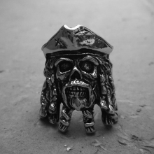 Vintage Pirates Skull Stainless Steel Rings Mens Black Pearl Captain Biker Ring Motorcycle Rock Punk Jewelry