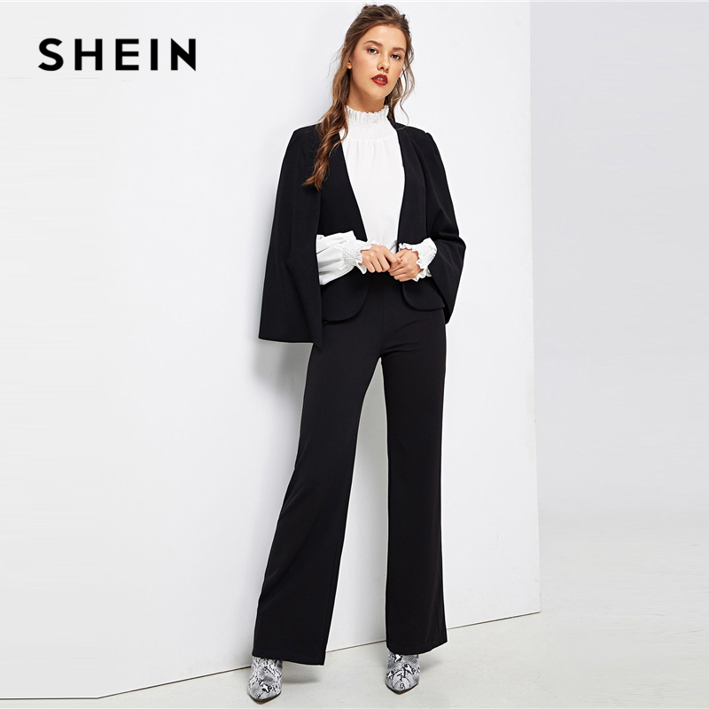 SHEIN Black Poncho Office Lady Streetwear Cloak Open Front Blazer 2018 Autumn Elegant Modern Lady Workwear