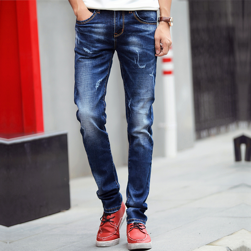 Teen Men Blue Jeans Fashion Casual Stretch Denim Pants Men Size 27-36 High Quality Male Jeans Trousers