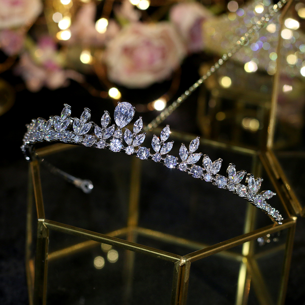 Wedding Tiaras Queen Crown Cubic-Zircon Jewelry Hair-Accessories Silver Bridal Women