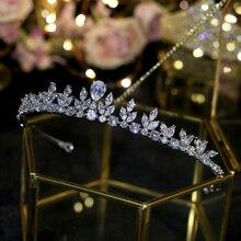 Simples aaa cúbico zircão rainha coroa, prata casamento coroa nupcial tiaras acessórios para o cabelo feminino jóias