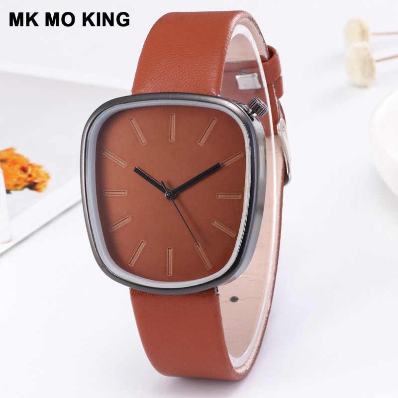 Montre homme montres cadran rectangulaire mince en cuir horloge homme montre à Quartz conception Simple montre-bracelet relogio masculino reloj hombre