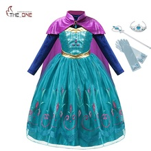 MUABABY Elsa Anna Deluxe Fancy Dress Up Long Sleeve Sequin Snow Queen Elza Cosplay Princess Costume Kids Pageant Long Cloak Gown