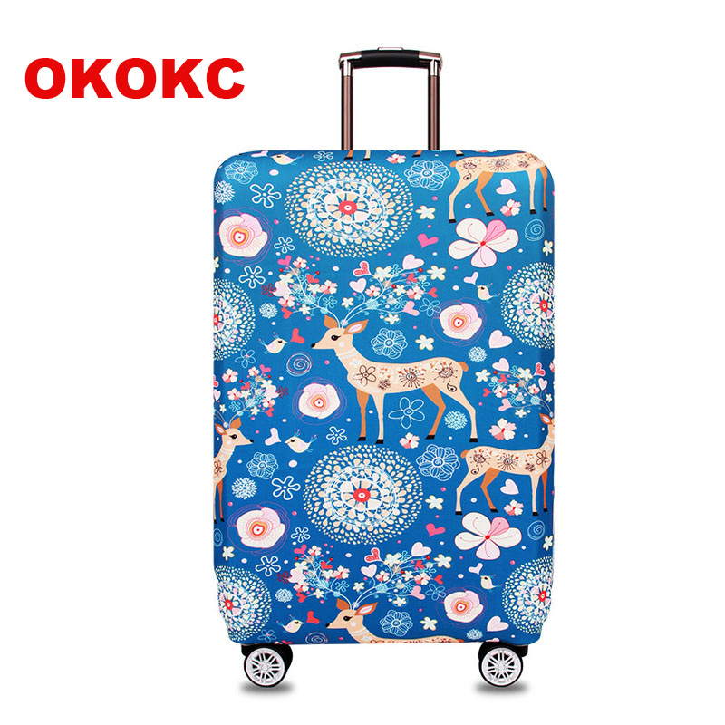 OKOKC Deer Pattern Elastic Thicken Travel Suitcase Protective Luggage Cover Apply to 18-32 Case Suitcase,Travel Accessories ...