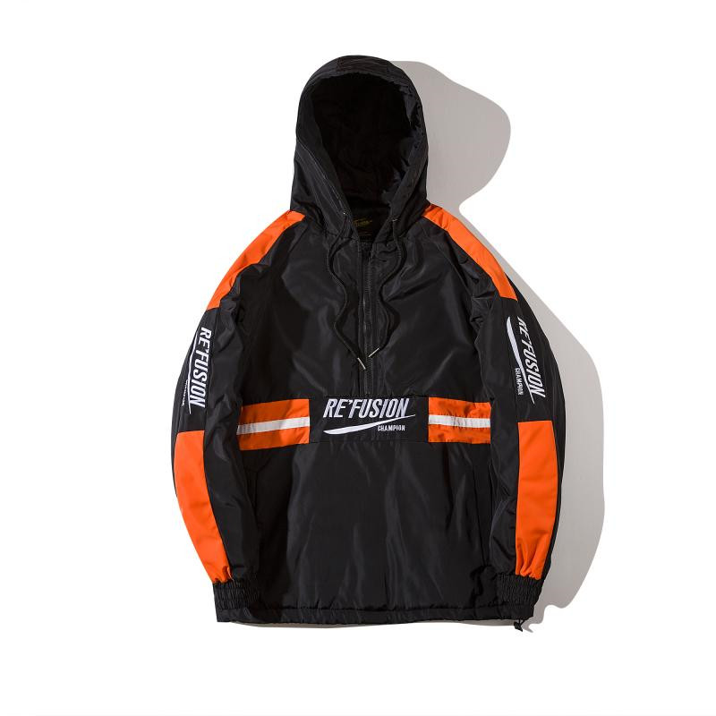 2019 SS Half Zipper Windbreaker Jacket Coat High Street Sleeve Stripe Tracksuit Coat Hip Hop Embroidery Patchwork Hooded Jacket