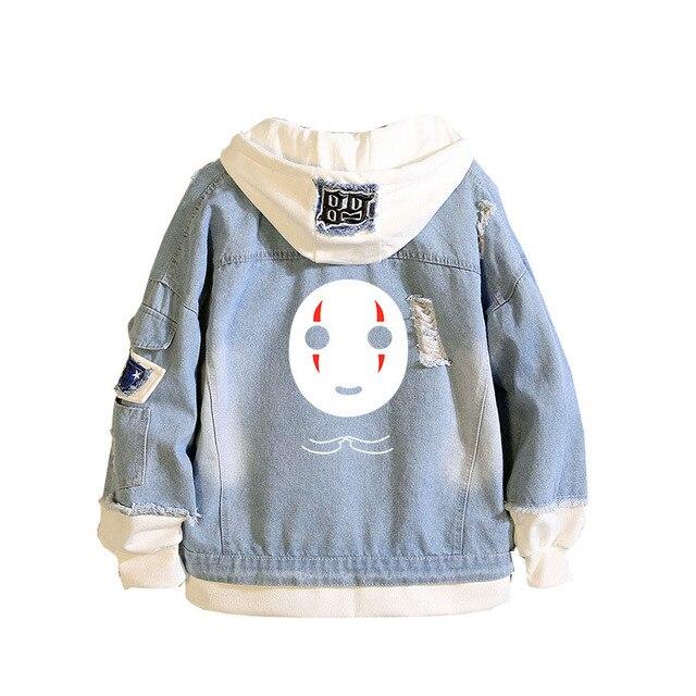 SOX Spirited Away Sudadera Kawaii para hombre y mujer, chaqueta vaquera larga con capucha Harajuku, chaqueta vaquera, sudaderas con capucha, Primavera