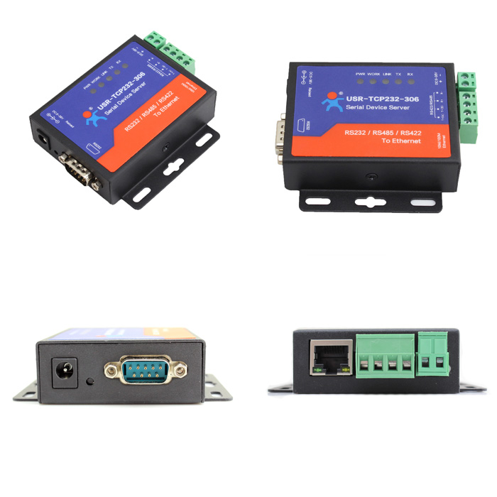 USR-TCP232-306 Free Shipping RS232 RS485 RS422 To LAN Server Support DNS DHCP built-in Webpage 2Pcs/Lot usr tcp232 306 free shipping ethernet converters rs422 rs232 rs485 serial to ethernet support dns dhcp built in webpage