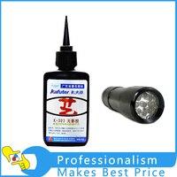 50 ml Kafute K-303 UV Kleber + 9LED UV Taschenlampe Uv-härtung Adhesive Acryl Transparent Kunststoff Acrylkleber