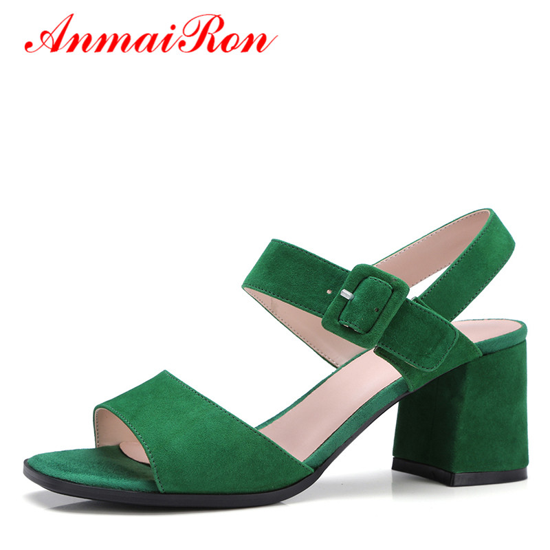 ФОТО ANMAIRON Summer Shoes Sandals Women Med Heels Flock Shoes Woman Sweet Buckle Strappy Sandals Open Toe Thick Heels Lady Shoes