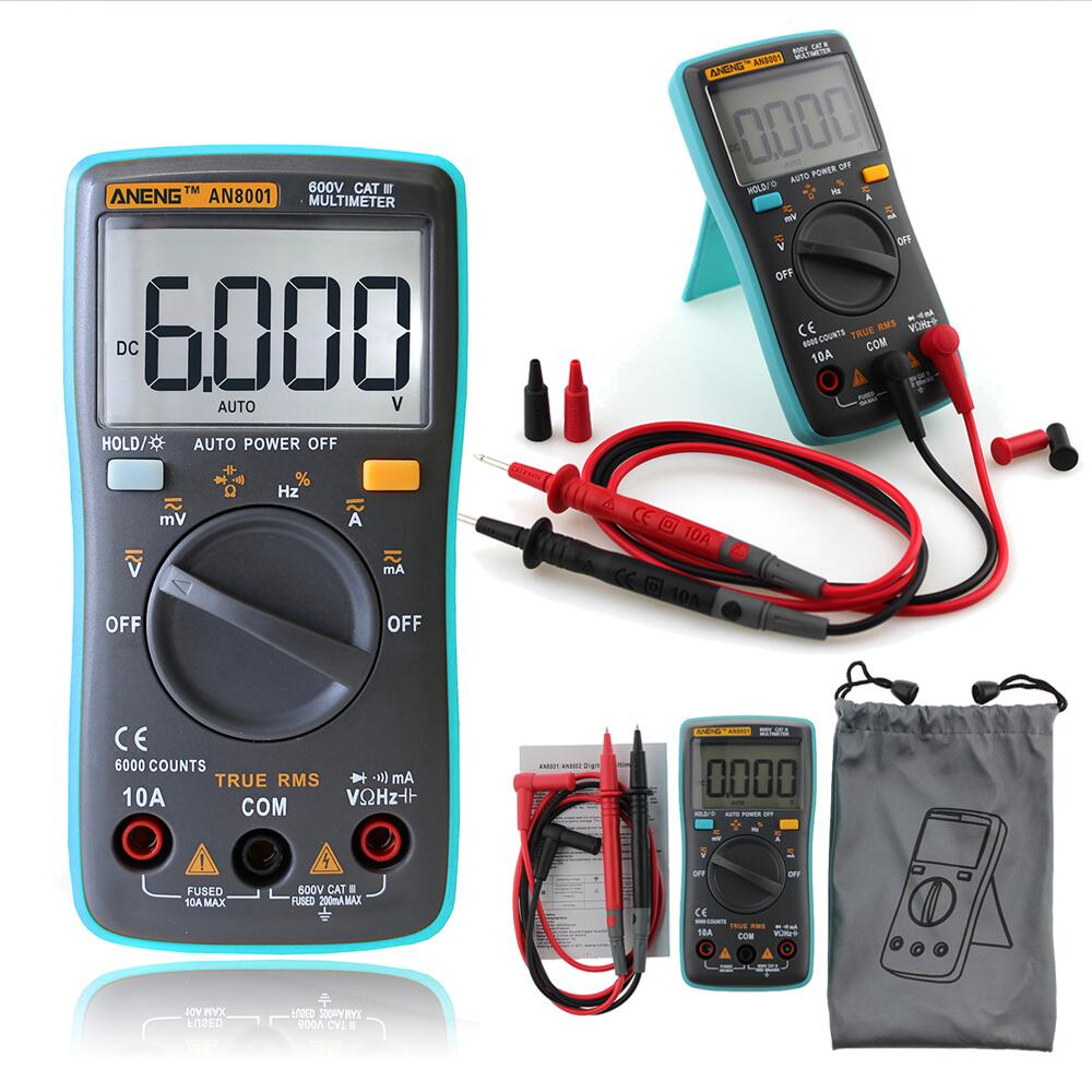 AN8001 Digital Multimeter LCD Display 6000Counts Backlight AC/DC Ammeter Voltmeter inductance meter Transistor Current Tester auto digital multimeter 6000counts backlight ac dc ammeter voltmeter transform ohm frequency capacitance temperature meter xj23