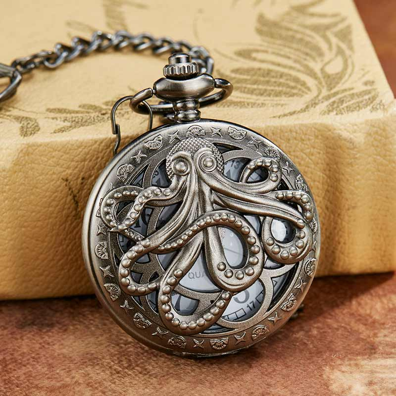 Hollow Octopus Pocket Watch For Men Women Animal  Engraved Flip Case Bronze Fob Watches With Chain Necklace Pendant Hollow Clock