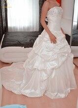 Bealegantom 2018 Newest White Taffeta Wedding Dresses Ball Gown Beaded Bridal Gowns Robe De Mariee Vestido De Novia QA1404