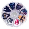 SOACH 50pcs guitar picks 1 box case Rock Band Guitar Accessories cartoon Guitar paddle Mix Plectrums + Clear Makeup Case