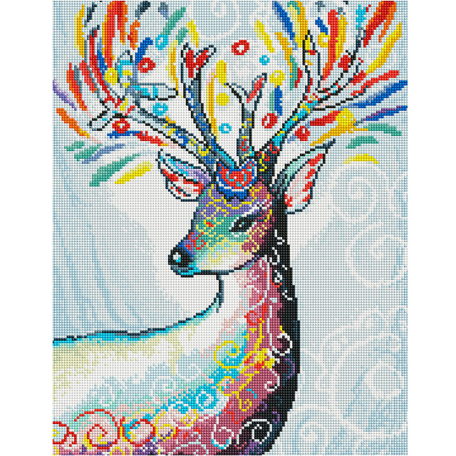 DIY 5D Full Diamond Embroidery  Mosaic Picture deer Head to the left Round  Painting Cross Stitch Kits