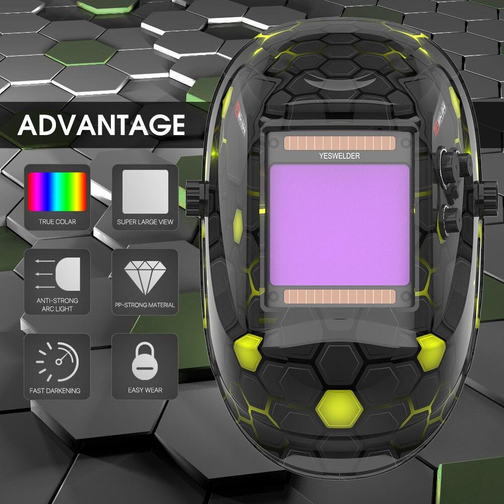 YESWELDER True Color Welding Helmet Super Large Viewing Screen Welding Mask 100*93mm Solar Auto Darkening Hood LYG-M800H-A