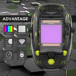 YESWELDER Wahre Farbe Schweißen Helm Super Großen Bildschirm Schweißen Maske 100*93mm Solar Auto Verdunkelung Haube LYG-M800H-A