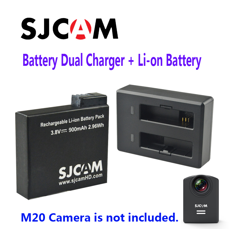 Free Shipping Original SJCAM Rechargable Li on Battery Dual Charger Suit for M20 Sport Action Camera